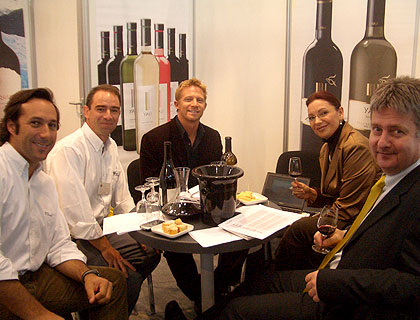 Mark Drendel from CEC Wines with clients at a wine fair